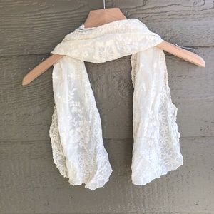 Cream ivory lace floral hair or bag scarf
